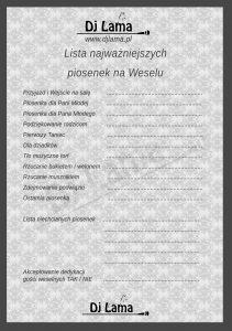 Lista najważniejszych piosenek na weselu - Dj Lama