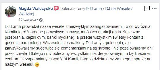 DJ NA WESELE OPOLSKIE OPOLE DJ LAMA WODZIREJ POLECANY DJ NA WESELE OPINIE